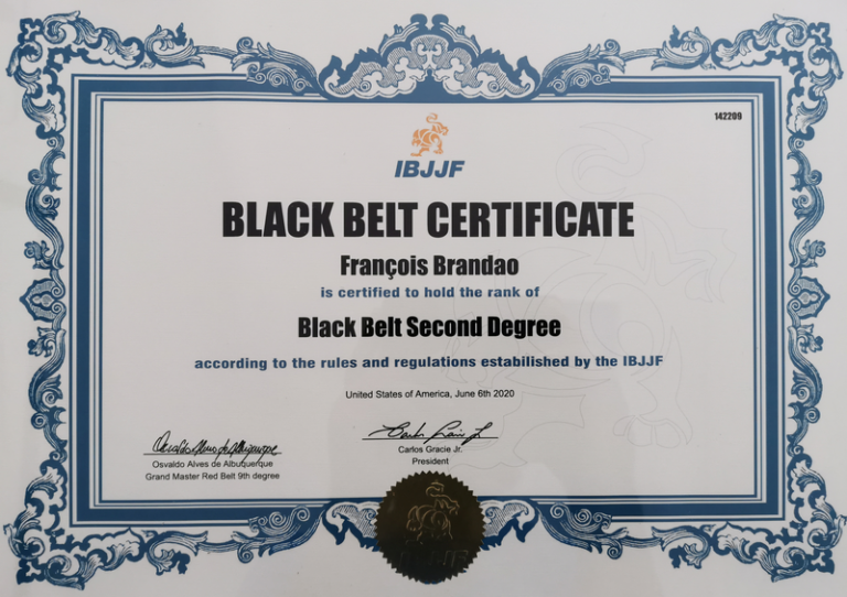 Certificat IBJJF François Brandao